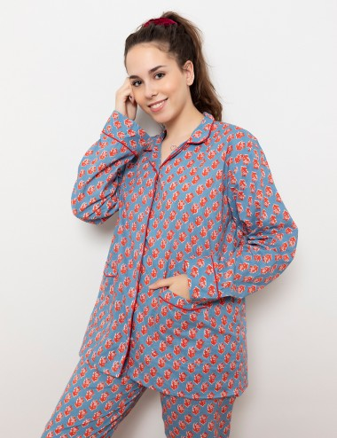 Flower pijama blue and red